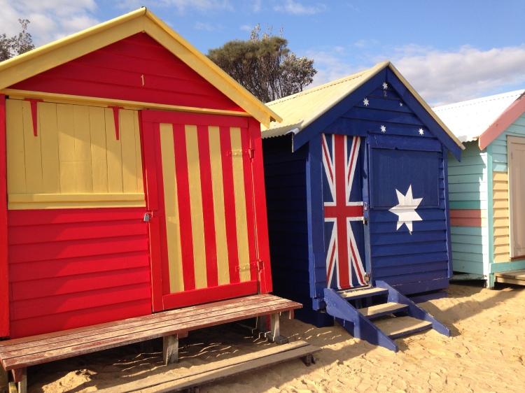 Colourful Brighton Beach huts.