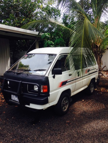 Our van parked at the hostel