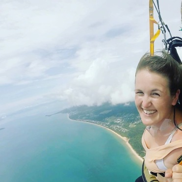 Finally comfortable in my parachute (Photography: Altitude Skydive Mission Beach
